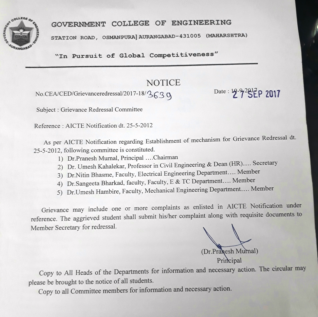 Government college of engineering aurangabad grievance redressal committee thecheapjerseys Image collections